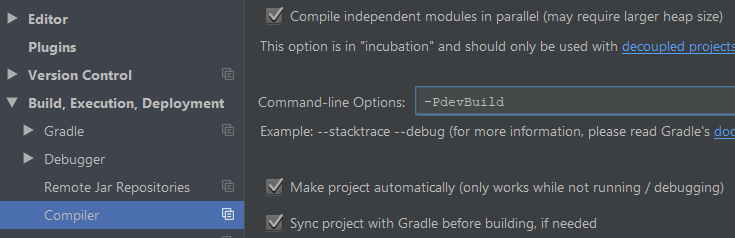 Android Studio compiler options